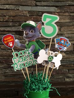 Custom Rocky Paw Patrol centerpiece INSERTS by myhusbandwearscamo Paw Patrol Birthday Theme, Paw Patrol Party, Paw Patrol Birthday Decorations, 6th Birthday Parties, Boy First Birthday, Birthday Ideas, Los Paw Patrol, Cumple Paw Patrol, Puppy Party
