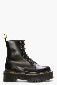 DR. MARTENS Black Leather Quad Retro 8-Eye Jadon Boot