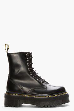 DR. MARTENS Black Leather Quad Retro 8-Eye Jadon Boot Dr Martens Black 4e21789fd63
