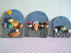 Christmas nativity ornaments from clay Christmas Crib Ideas, Polymer Clay Christmas, Polymer Clay Crafts, Christmas Projects, All Things Christmas, Fimo Clay, Nativity Ornaments, Nativity Crafts, Clay Ornaments