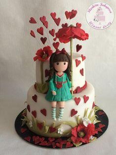 Girly Cakes, Cute Cakes, Fondant Girl, Artist Cake, Cake Frame, Fondant Figures Tutorial, Cake Decorating With Fondant, Ballerina Cakes, Baby Birthday Cakes