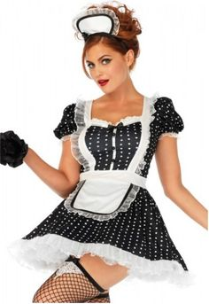 Part role play and part Halloween costume, Leg Avenue's Frisky Frenchie french maid costume is a must-have to keep on hand year round. The darling polka dot French maid dress gives off a playful retro vibe and the attached apron ties back on the fun frill French Maid Dress, French Maid Costume, Frilly Skirt, Maid Outfit, Leg Avenue, Costume Dress, Costumes For Women, Adult Costumes, Cosplay Costumes