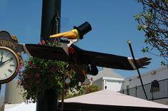 """Fairhope, Alabama - Art Takes Flight 2007 - """"Fred Astaire Pelican"""" - 74 fiberglass pelicans, 5 feet by 4 feet"""