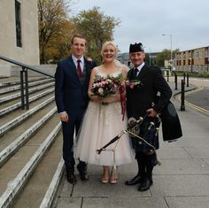 The smashing Alyce & Rob who were married at Brangwyn Hall today. A complete surprise for Rob until the moment they were leaving the ceremony, when I suddenly appeared :-) The Wedding party were then Piped around the hall to Brangwyn steps for photographs. A brilliant day for all :-) #SouthWales #Swansea #Weddingmusic #Bagpipes