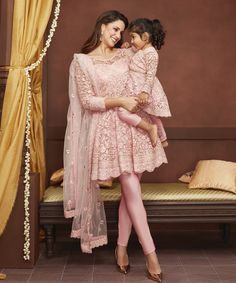 Match with your mini-me this wedding season with exclusive mommy & me outfits from Lashkaraa Mom Daughter Matching Outfits, Mommy Daughter Dresses, Mom And Baby Dresses, Mother Daughter Fashion, Stylish Dresses For Girls, Mom Dress, Dresses Kids Girl, Girl Outfits, Dress Girl