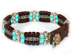 Southwestern Beaded Azteca Dog collar, unique & handmade in the USA for small - big dogs. Beaded Dog Collar, Diy Dog Collar, Collar And Leash, Dog Collars, Collar Choker, Dog Jewelry, Jewelry Ideas, Hacks, Dog Pattern