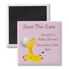 Cute customizable happy giraffe pink Baby Shower Save the Date magnet