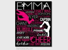 Cheerleading Typography Art Print Perfect for by twenty3stars Girl's Room Cheer Art in Hot pink, white and Black for Cheer Team Gifts