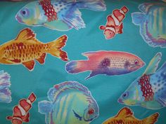 F065  FABRIC SALE  Nautical  Fish Underwater by NoveltyPillows4All, $6.40