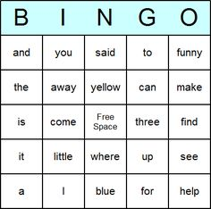 Dolch Pre-Primer Bingo Card-Has site word lists by grade on this site