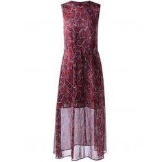 Retro Style Round Collar paisley Printing Dress With Sleeveless For Women