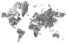 World map Tribal Pattern package of 3 by Wallmaps on Etsy