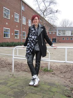 Monochrome outfit with skull watch, skull sсarf, Zara biker coat, H leather pants and melange sweater, and dr. Martens lookalikes