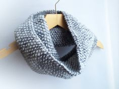 Grey knitted infinity scarf Unisex Scarf Warm by EcoMagicStudio
