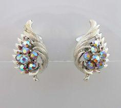Coro Earrings AB Rhinestones Silver Clip On Backs Aurora Borealis 9023 #Coro #Cluster
