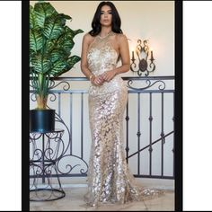 Beautiful gold sequin gown Mesh and gold sequin gown beautiful dress that can be worn to prom,birthday or evening event Daphne joy collection  Dresses Prom