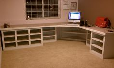 Craft Room / Sewing Room Furniture. long L shaped desk with corner unit