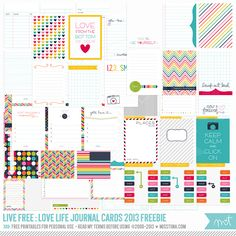 FREE Printables - Live Free : Love Life – 73 FREE Printable Journal Cards | MissTiina.com {Blog}
