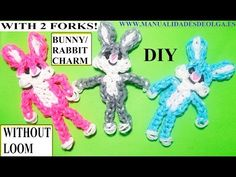 BUNNY/RABBIT CHARM With two forks without Rainbow Loom Tutorial. (Mini Figurine)