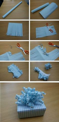 Make in two halves as they tend to 'sit' nicer on the present. Cut a strip of wrapping paper about 20-30 cm wide. Fold the longest side of the paper in half to cut strips of fringe in less time. After cutting strips about 1/2 cm wide, unfold the paper & curl it using the edge of scissors. Don't worry if a strip tears off, it won't affect the finished result. Tip: To create the pretty ringlet effect, pull the scissors across the paper at a slight angle. | More step-by- step in the blog post.