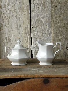 Vintage white ironstone cream and sugar set by OliverandRust, $35.00