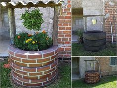 DIY Tire Wishing Well Planters, a unique way to recycle old tires for garden… Tire Planters, Garden Planters, Glass Garden, Tire Garden, Garden Art, Garden Totems, Garden Whimsy, Garden Junk, Garden Sheds