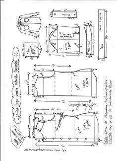 Esquema de modelagem de camisa com laço e decote redondo tamanho  44.