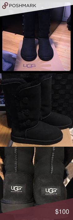Kids UGG Australia Bailey Button Triplet Classic Bailey Button UGG. 100% authentication guarantee! Real sheepskin and fur. Wore it once. Still in great condition w/original box. These boots will keep your feet warm through the cold season. UGG Australia Shoes Boots