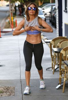 She looks amazing just walking down the street after a workout. #JLo #JenniferLopez #Abs #Fitness