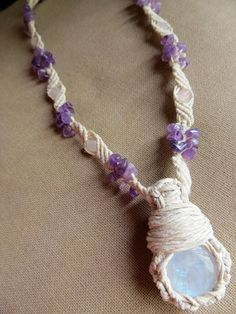 Wrapped Moonstone Hemp Necklace  by PerpetualSunshine111