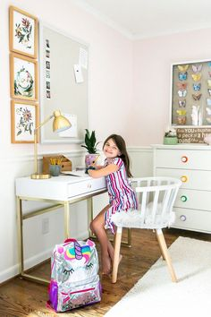 Little Girl's Homework Desk with memo board and back-to-school clothes from @Walmart #ad A quick homework desk change-up with drawers and memo board to stay organized   back-to-school ideas.