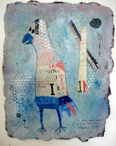 This Old Bird, ©Barbara Olsen mixed media on Twinrocker paper