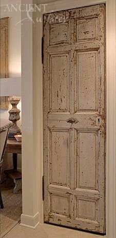 Antique Wooden Architectural Doors by Ancient Surfaces http://www.ancientsurfaces.com/Doors-Shutters-Windows.html We currently have well over 400 ancient one of a kind antique reclaimed and restored wooden doors all salvaged from older European villages and towns. Phone: 212-461-0245 // 212-913-9588 Sales@ancientsurfaces.com