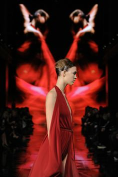 ;At Donna Karan, I chose to shoot from a very low position--I was 16 inches from the ground--to catch the play of colors projected on the backdrop.