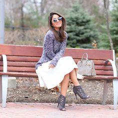 Elegant midi skirt with peeptoe ankle boots