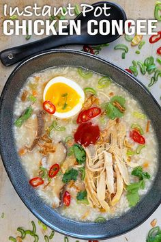 Super fast and easy one pot meal. This delicious instant pot chicken congee is so flavourful that you don't need any side dishes to go with it. Easy Asian Recipes, Healthy Recipes, Ethnic Recipes, Dishes To Go, Side Dishes, What Is Congee, Cilantro, Pressure Cooker Beans, Sriracha