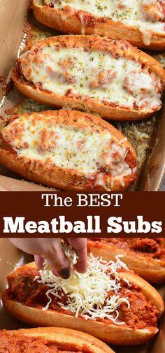 Baked Meatball Subs, Meatball Sub Sandwiches, Meatball Sub Recipe, Oven Baked Meatballs, Best Meatballs, Meatball Sandwich Casserole, Italian Meatballs, Meatball Marinara Sub, Cheese Meatballs
