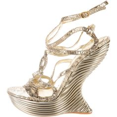 Pre-owned Alexander McQueen Metallic Snakeskin Sandals ($1,295) ❤ liked on Polyvore featuring shoes, sandals, gold, platform shoes, alexander mcqueen shoes, metallic shoes, snake skin sandals and pre owned shoes
