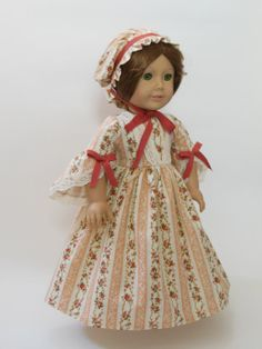 1700's Inspired  Historical Costume for 18 Doll by NancysBigIdeas, $30.00