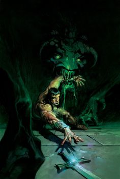 King Conan is beset on all sides by scheming politicians plotting his demise! But the conspirators have chosen the wrong ally in Thoth-Amon. The barbarian king will need more than a strong arm and a s Barbarian King, Conan The Barbarian, Comic Book Covers, Comic Books Art, High Fantasy, Fantasy Art, Andrew Robinson, Roman, Sword And Sorcery