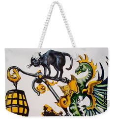 Shop Sign Weekender Tote Bag featuring the painting Caru Cu Bere - Antique Shop Sign by Dora Hathazi Mendes #artforsale #artoftheday #printsforsale #dorahathazi #carucubere #bucharest #romania #wroughtiron #shopsign #cat #dragon #weekendertotebag #beachbag #beachtote
