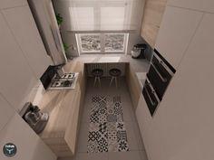 Kafle cementowe  Articima Patchwork BWG (czarno-szaro-biały) zastosowane na ścianie w łazience oraz na podłodze w kuchni.