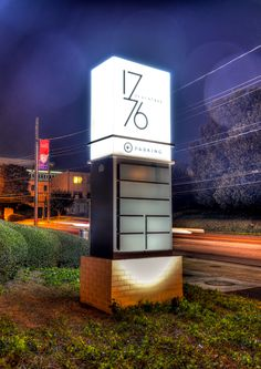 The signage for this boutique office building was designed to be as unique as the building. From the large lighted monument out front, to the interior signage and graphics package, a sleek modern look was a must. Pylon Signage, Monument Signage, Hotel Signage, Retail Signage, Wayfinding Signage, Signage Design, Restaurant Exterior, Exterior Signage, Exterior Design