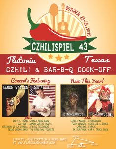 Flatonia Czhilispiel 43! Chili & BBQ Cook-off! Headline Entertainment by Aaron Watson and Sam Riggs! October 23-25, 2015!