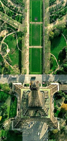a bird's eye view of the Eiffel Tower, Paris, France