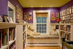 Relaxing Reading Areas for Kids (and families): Window seat reading alcove with bookcases.
