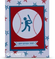 ——— S U P P L I E S ———  • Simply Sports Clear-Mount Stamp Set #134312 • Pictogram Punches Clear-Mount Stamp Set #134264 • Real Red Stampin' Write Marker #100052 • Real Red Classic Stampin' Pad 	#126949 • Real Red 8-1/2X11 Card Stock #102482 • Pacific Point Classic Stampin' Pad #126951 • Pacific Point 8-1/2X11 Card Stock #111350 • Whisper White 8-1/2X11 Card Stock #100730 • Big Shot Die-Cut Machine #113439 • Bitty Banners Framelits Die #129267 • Circles Collection Framelits Dies #130911
