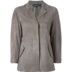 Salvatore Ferragamo suede jacket (€2.200) ❤ liked on Polyvore featuring outerwear, jackets, grey, suede leather jacket, gray jacket, grey suede jacket, 3/4 sleeve jacket and gray suede jacket
