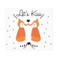 Valentine's Day Let's Kiss Canvas Print - valentines day gifts gift idea diy customize special couple love