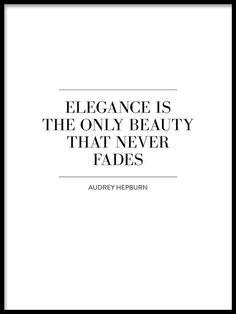 Poster med citat av Audrey Hepburn | Snygg texttavla med quote